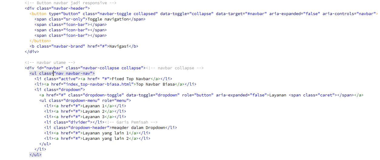 Cara Membuat Menu Dropdown Pada Bootstrap - Kursus Web Design