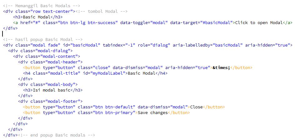 Template Modals yang dapat digunakan pada bootstrap
