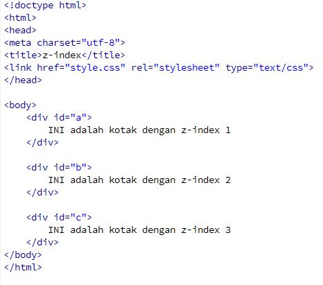 Z-index pada CSS3