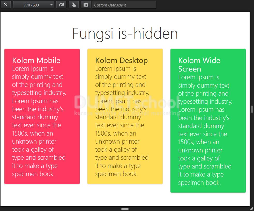 Fungsi hidden pada Bulma Framework