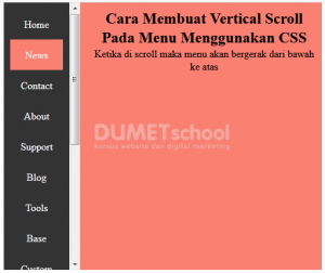 Membuat Vertikal Scroll Pada Menu Menggunakan CSS