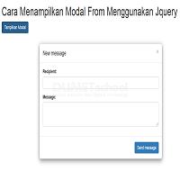 Cara Menampilkan Modal From Dengan Menggunakan Jquery
