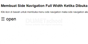 Membuat Side Navigation Full Width Ketika Dibuka