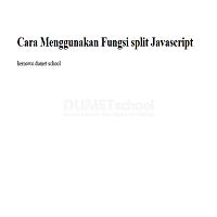 Cara Menggunakan Fungsi split Javascript