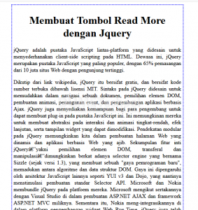 Membuat Tombol Read More dengan Jquery
