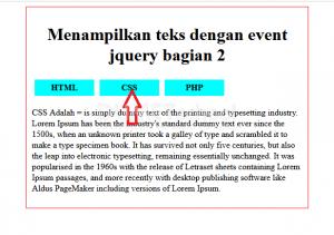 menampilkan teks dengan event jquery bagian 2