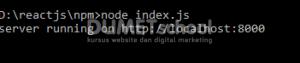 menjelankan file javascript pada server dengan npm 4