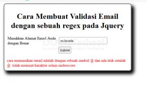 cara membuat validasi email dengan sebuah regex pada jquery