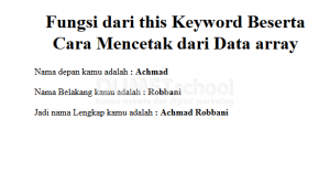fungsi dari this keyword beserta cara mencetak dari data array