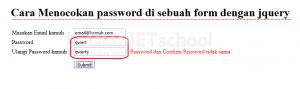 cara mencocokan password di sebuah form dengan jquery