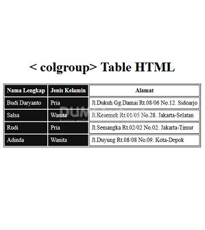 Cara Menggunakan colgroup Table HTML