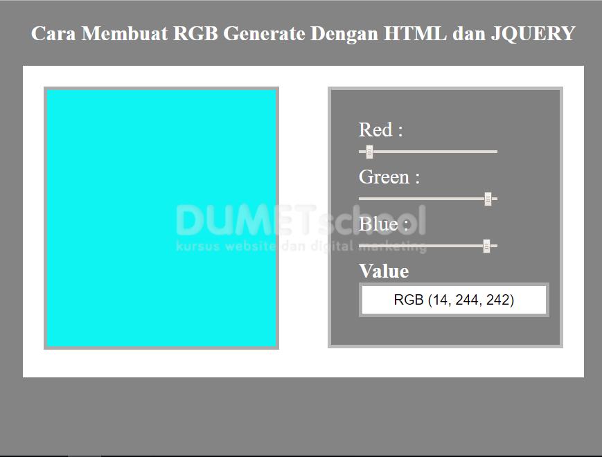Cara Membuat RGB Generate Dengan HTML CSS dan JQuery