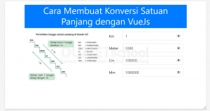 cara membuat konversi satuan panjang dengan VueJs