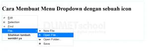cara membuat menu dropdown dengan sebuah icon