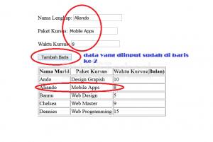 2-Cara Menambah Baris Baru pada Table Menggunakan Javascript