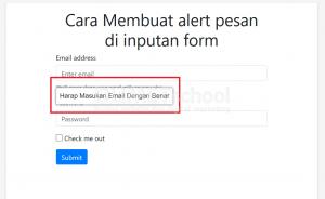 Cara membuat alert pesan di inputan form