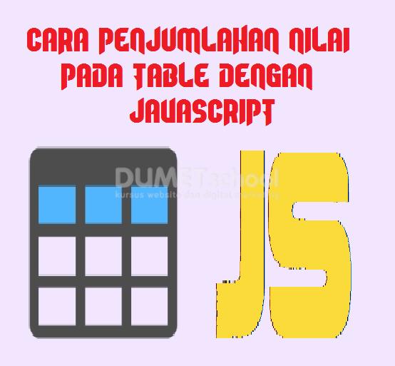 Cara Menjumlahkan Nilai Pada Table Menggunakan Javascript