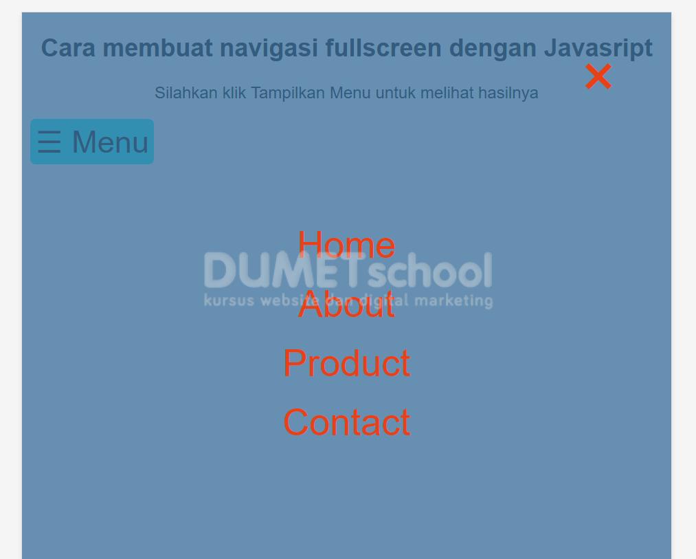 Cara membuat navigasi fullscreen dengan Javasript - Kursus
