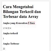 Cara Mengetahui Bilangan Terkecil dan Terbesar data Array