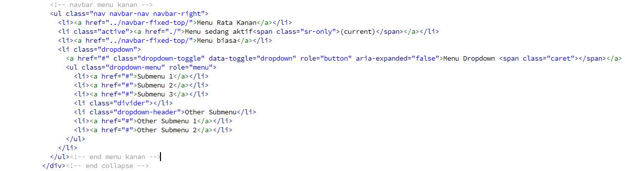 Membuat Menu Dropdown pada Bootstrap