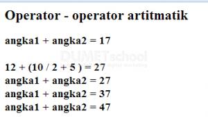 Operator Aritmatik dalam Javascript