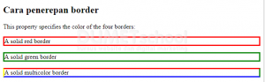 Cara Penerapan Border pada CSS3