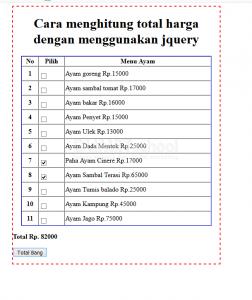 Cara menghitung total harga dengan menggunakan jquery