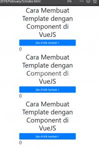 cara membuat template dengan component di VueJS