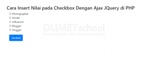 Cara Insert Nilai pada Checkbox Dengan Ajax JQuery di PHP