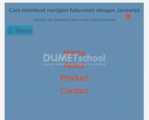 cara membuat navigasi fullscreen